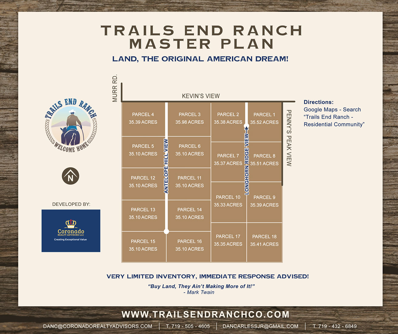 Trails End Parcel Pricing Map