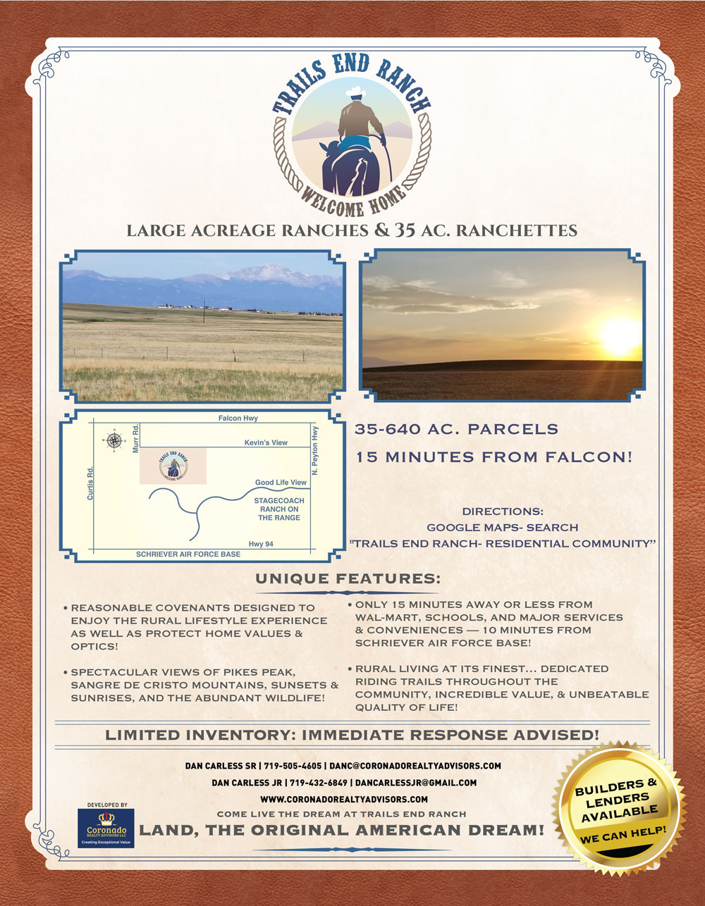 Trails End Ranch - Colorado Springs land for sale
